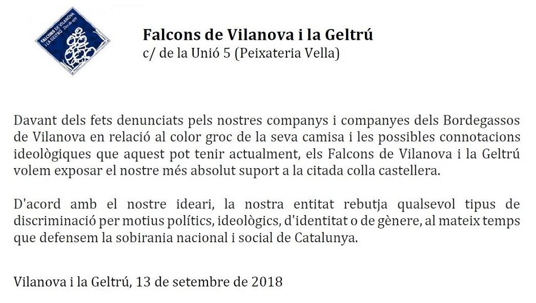 Comunicat en suport amb els Bordegassos de Vilanova